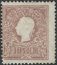 Italy, Lombardy & Venice Sassone number 31 Type II 10 Soldi brown