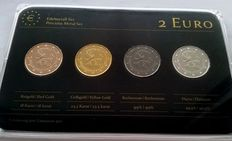 Monaco – 2 Euro '20 Year of Admission to UN' 2013 (4 different coins) – Precious Metal Set