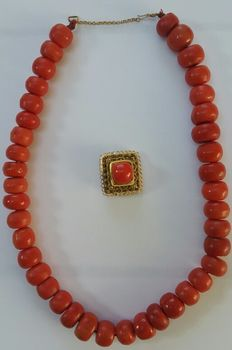 Red coral necklace with 14 karat gold gold clasp.