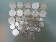 Belgium - 50 centimes, 1, 2, 5, 20, 100 and 250 francs 1850/1976 (31 pieces) - silver
