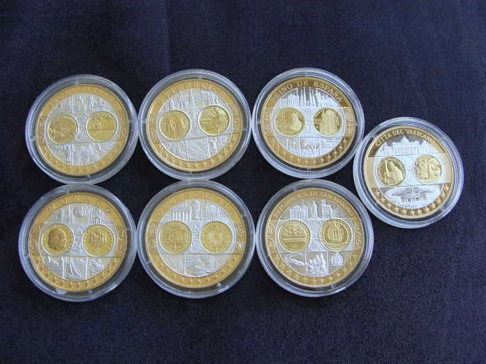 Europe – Set of various medals 'First Strike Euro Countries' (7 different kinds) – Silver, partly gold-plated
