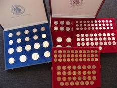 The Netherlands – 1 cent through 10 guilder 1950/1980 Juliana, complete, bronze, nickel and silver in two cassettes.