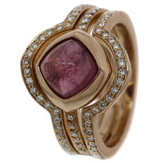 "Saddal - rose gold women's ring, ""Dolce"", set with pink tourmaline and diamond."