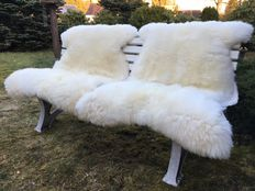 Two very large - XXL - thick - nature white sheepskins/lambskins
