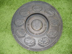 Football World Cup 1974 West Germany, cast iron/brass? Plate bowl Cup wall plate 6.3 kg!