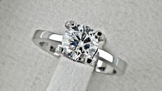 1.00 ct  VS2 round diamond ring made of 18 kt white gold - size 6