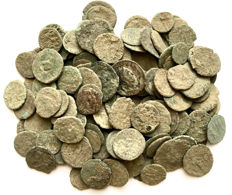 Roman Empire -Large collection of 150 Roman bronze coins-not cleaned- 1st / 4th. Century A.D.