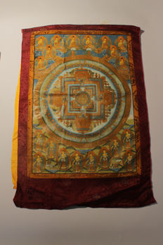 Large hand-painted Thangka – Tibet/Nepal – Second half of the 20th century