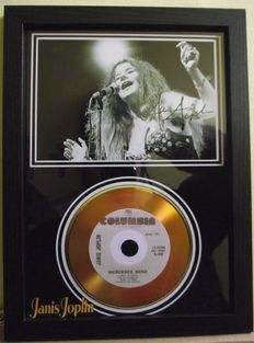 Janis Joplin, signed( printed facsimile signature )framed photo, and gold record effect CD disc presentation( Mercedes Benz ).