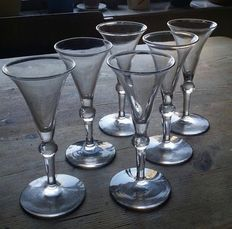 6 x Dutch jenever glasses - Holland - 1790-1800