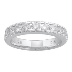 Brand new 4mm width 18kt white gold eternity ring with 11 round brilliant diamonds in a claw and channel setting, 1.00ct total diamond weight. G/H colour and SI clarity. Size 54/N (free resizing in Antwerp)