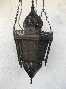 Oriental style lamp, metal with glass inside-Netherlands-first half 20th century