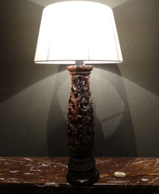 Large wood carved cutaway twilight lamp - Bali - Indonesia