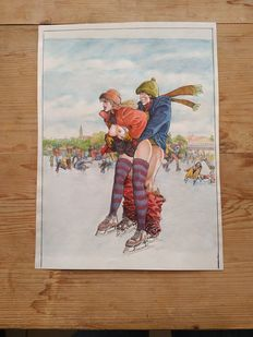 Altuna, Horacio - Original colour drawing - Ice hockey - Playboy