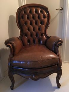 A leather padded voltaire armchair, late 20th century