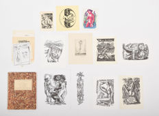 Graph; Lot with 23 Erotic ex-libris-ca 1960/1980