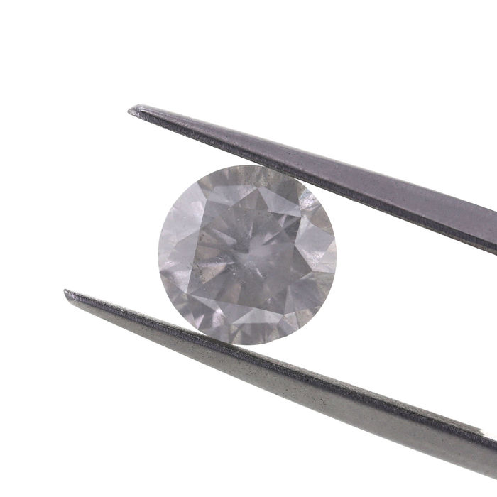 Very light grey 2.05 ct. round shape. GIA