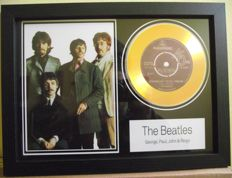 The Beatles, photo and gold disc effect presentation for their song; 'Strawberry Fields'. Parlophone Record label.