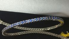 Tennis bracelet in 18 kt gold with brilliant cut blue sapphires **no reserve**