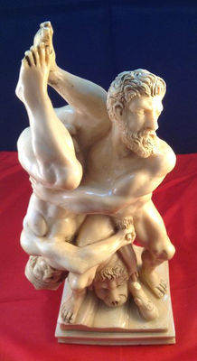 Statue depicting struggling Hercules and Diomedes after 16th century example - 1960s