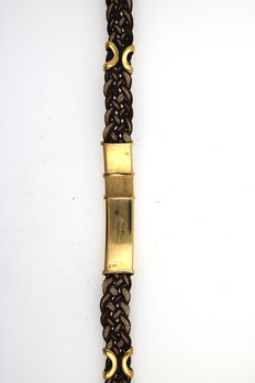 Bracelet made of 750 18kt yellow gold 17cm rubber