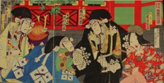 "Woodcut triptych ""Daiyo"", opening scene from the kabuki theatre piece ""Kanadehon chushingura"" by Toyohara Kunichika – Japan – 2nd half 19th century"