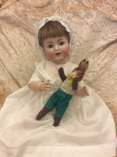 Kämmer & Reinhardt character doll Marked K&R 22 Germany 62, in old white dress with lace