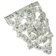 Art Deco platinum diamond dress clip brooch, anno 1920