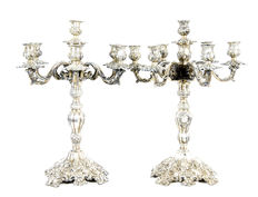 Pair of candelabra for seven lights, in antique silver. Spain.  19th century