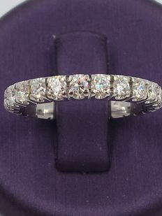 14kt white gold memory engagement ring with 1.20 ct diamonds - size: 50