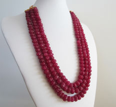 Necklace in 3 rown of ruby - Melon-ribbed beads - 930 ct
