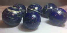 Collection of Lapis Lazuli spheres -  30 to 45mm - 1.1kg  (6)