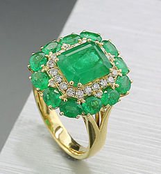 Emerald brilliant ring, 4.55 ct in 750 yellow gold --NO RESERVE PRICE--