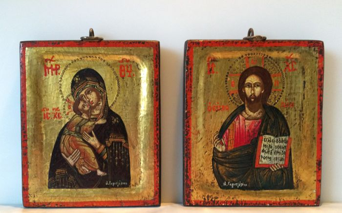 2 Greek icons: Christ and Mother of God