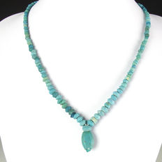 Necklace with Roman turquoise glass beads - 47 cm