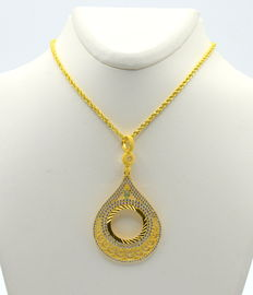 14 carat gold necklace with pendant length of necklace 45 cm