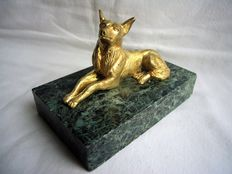 Gilt bronze dog on a green marble base - indistinctly signed Dalou - France - early 20th century