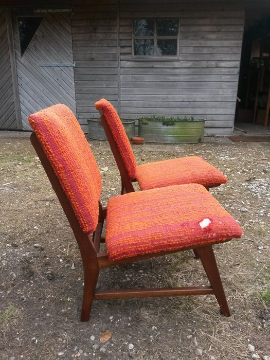 Designer unknown - two low vintage armchairs