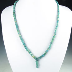 Necklace with Roman turquoise glass beads -  54,5 cm