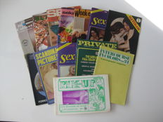 Pornography; Lot with 13 vintage sex magazines - 1971/1977