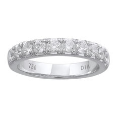 Brand new 4mm width 18kt white gold eternity ring with 10 round brilliant diamonds in a claw and channel setting, 0.75ct total diamond weight. G/H colour and SI clarity. Size 54/N (free resizing in Antwerp)