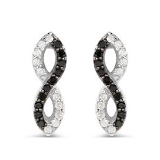 925 Silver Diamond Earrings  -  Black and White Diamonds. G/H; SI 2 0.38 carat.
