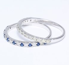 14kt White Gold set of 2 diamond and blue sapphire rings  –ring size 17 NL