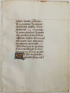Manuscript; Original leaf from an illuminated manuscript - 15th century