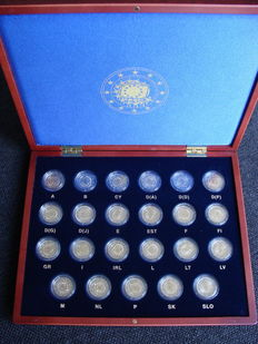 "Europe – 2 Euro coin 2015 ""30 Years European Flag"", 19 countries complete in coffer (23 pieces in total)."