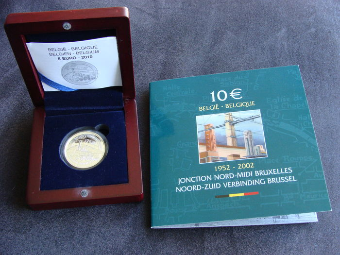 Belgium – 10 Euro 2002 'North-South Connection Brussels' and 5 Euro 2010 '175 years of Belgian Railways' silver (2 pieces)