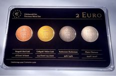San Marino -2 Euros 2013 'Precious Metal' - Refined (4 different coins) in blister