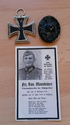 Iron Cross 2nd Class + Purple Heart in black with the corresponding death image