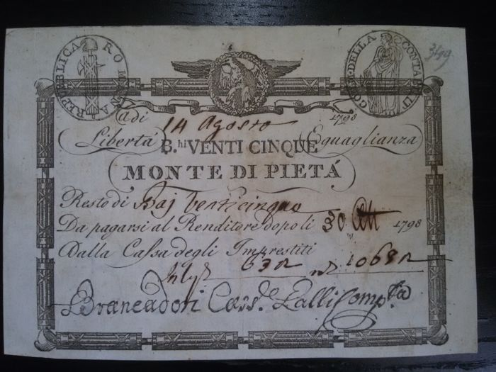 Italy - Papal State - 25 baioccos - 14 August 1798 - Pick S526b.