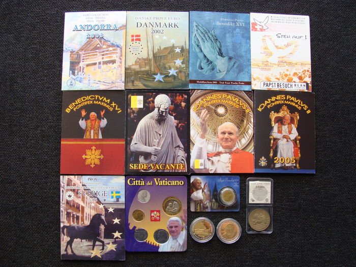 Europe – Probe sets/coins 2002/2008 from various countries including Vatican (14 pieces)